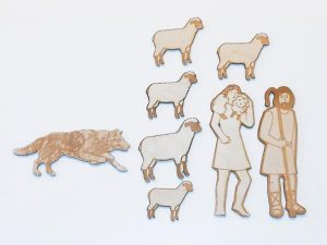 Wooden Good Shepherd Laser-Engraved Pieces Sunday School Lesson