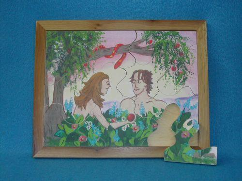 Wooden Adam & Eve Puzzle for Sunday School Lessons