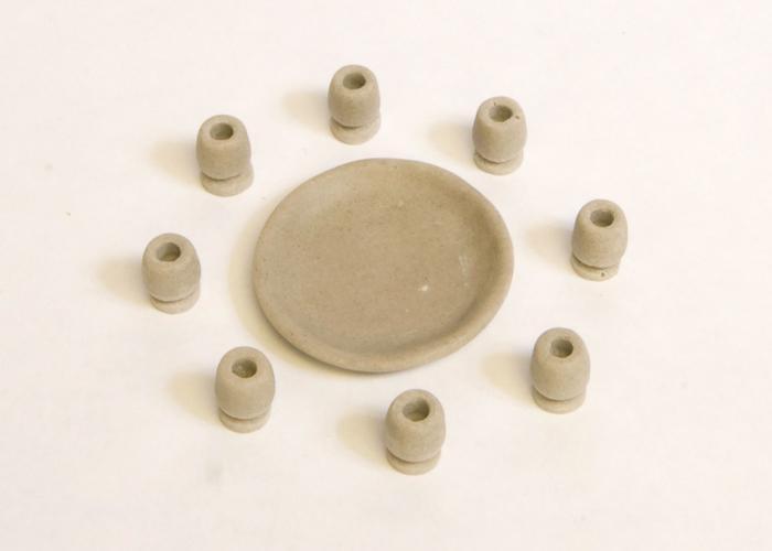 8 Chalices & Large Platter in basket