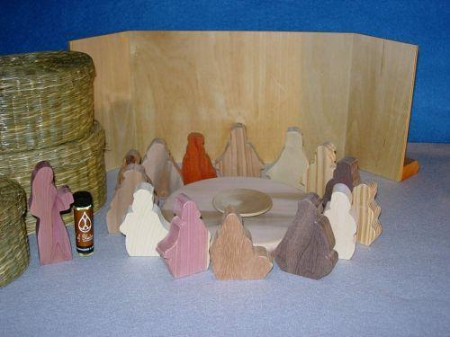 Wooden Woman Anoints Jesus for Burial Sunday School Lesson