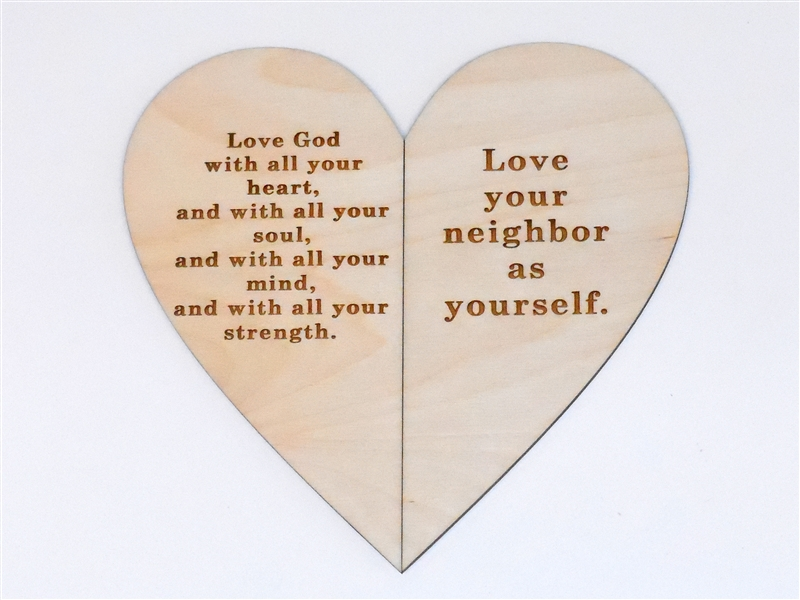 Wooden Commandment Heart Card for Sunday School Lessons