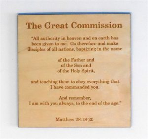 Wooden Commission Card for Sunday School Lessons