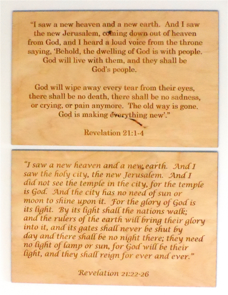 Wooden 2 Verse Revelation Cards for Sunday School Lessons