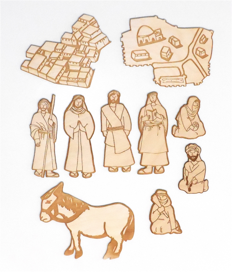 Wooden Good Samaritan Laser-Engraved Pieces Sunday School Lesson