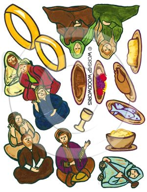 Parable of the Great Banquet (Laminated Color Prints) Sunday School Lesson