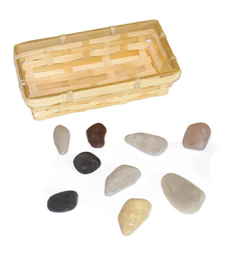 9 Rocks & Basket for Sunday School Lesson