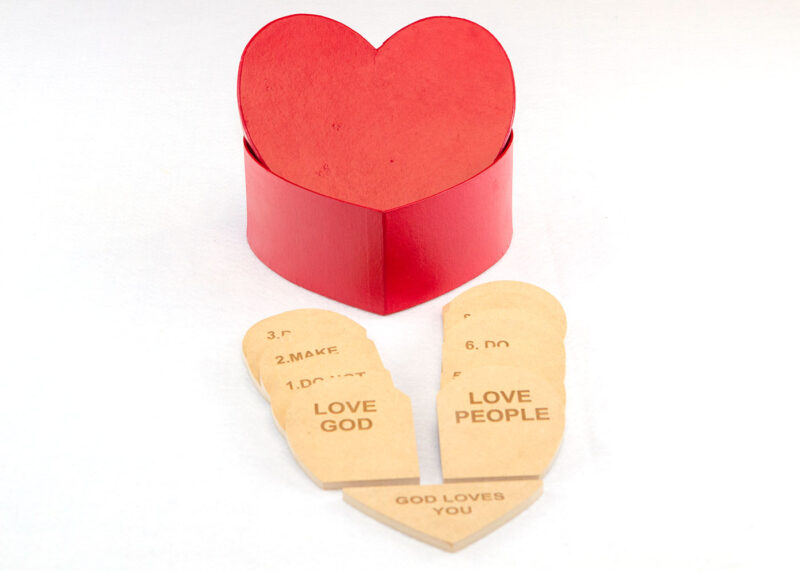 Wooden Tablets & Red Heart Box for Sunday School Lesson